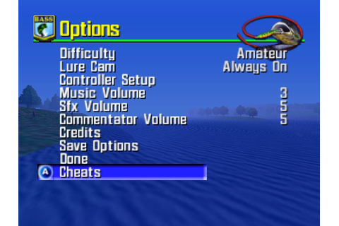 Classic Videogame Hacking: Cheat Menu - Bassmasters 2000 ...