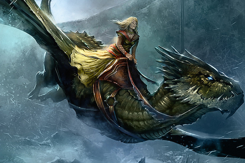 Fantasy Dragon Gril A Song Of Ice And Fire Poster – My Hot ...