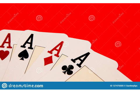 Playing Cards Showing A Four ACEs, Game Time Stock Image ...