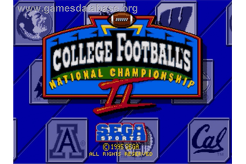 College Football's National Championship II - Sega Nomad ...