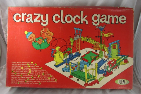 Crazy Clock Game Ideal Mouse Trap Type Vintage 1964