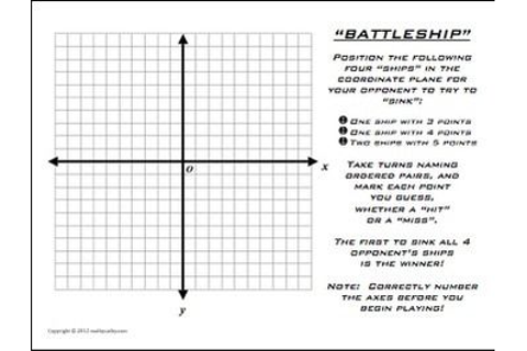 Battleship Plotting Points Coordinate Plane Math ...