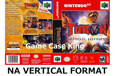 Turok: Rage Wars N64 video game case | Game Case King ...