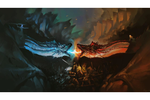 Dragon Battle Fire Vs Ice Game Of Thrones, HD Wallpaper