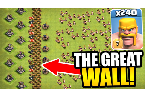 """THE GREAT WALL OF CLASH OF CLANS!"" - INSANE TROLL BASE ..."