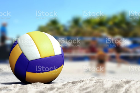 Volleyball Game On Sandy Beach Stock Photo - Download ...