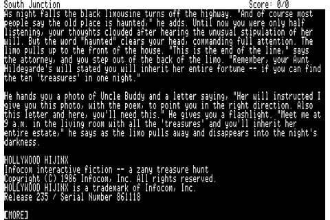 Hollywood Hijinx (1986) by Infocom Apple II E game
