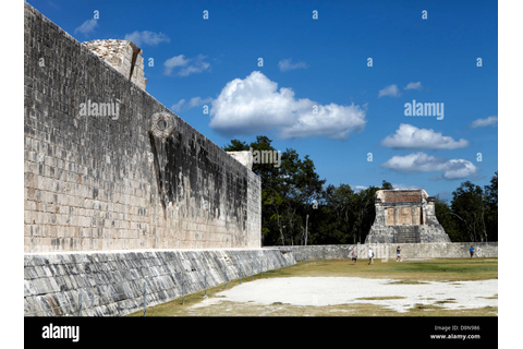 The Great Ball court at Chichen Itza used for playing the ...