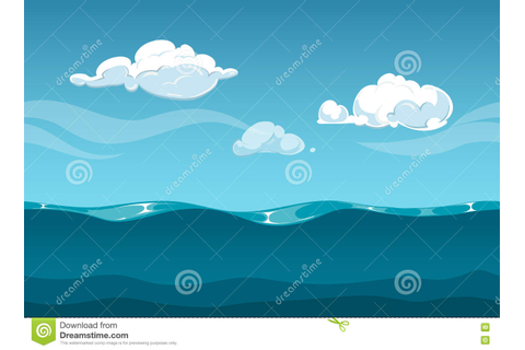 Sea Or Ocean Cartoon Landscape With Sky And Clouds ...