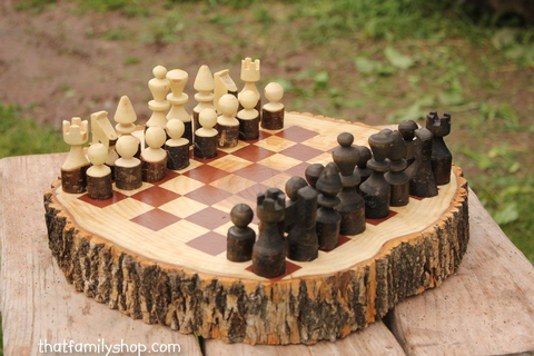 Custom Made Rustic Wood Log Chess Set | Ahşap Işleri ...