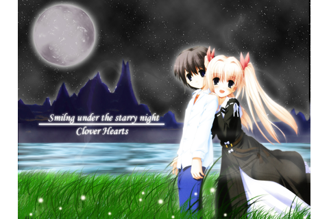 Clover Hearts Wallpaper: Smiling Under the Starry Night ...