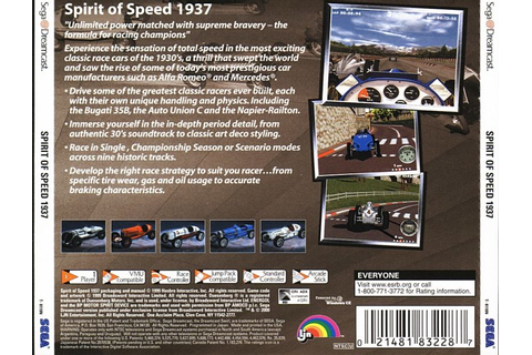 Spirit of Speed 1937 (2000) Dreamcast box cover art ...