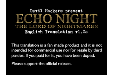 Echo Night 2: The Lord of Nightmares (ENG Patched) PSX ISO ...