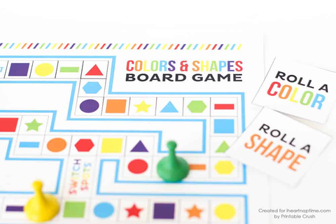 Shapes and Colors Printable Board Game - I Heart Nap Time