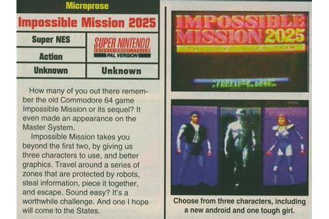 Impossible Mission 2025 [SNES - Unreleased] - Unseen64