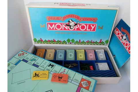 1985 Monopoly Board Game Deluxe Anniversary Edition Complete
