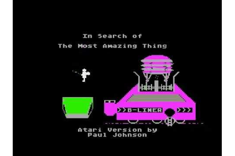 in search of the most amazing thing title screen for Atari ...