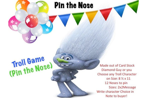 Trolls Game Pin the Nose | Etsy