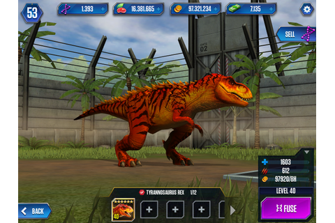 Fully evolved Tyrannosaurus rex from Jurassic World: the ...