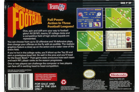 Super Play Action Football (1992) SNES box cover art ...
