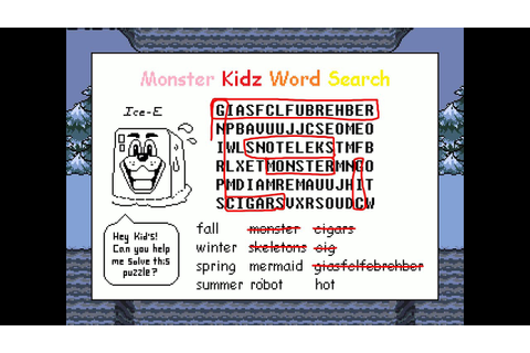 Undertale (PC) SOLVED Monster Kidz Word Search - YouTube