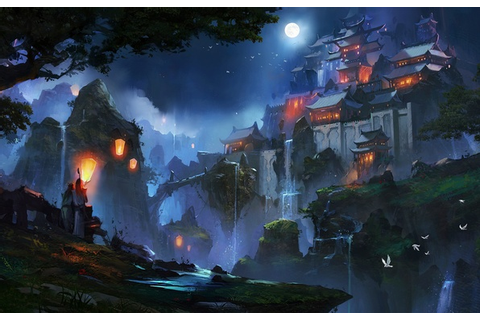 Wallpaper landscape, Korea, Medieval, paint, Light, China ...
