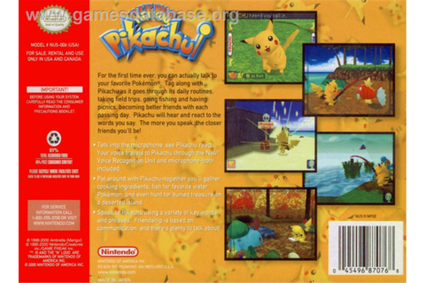 Hey You, Pikachu - Nintendo N64 - Games Database