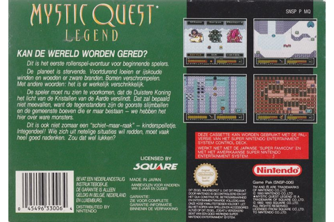Final Fantasy: Mystic Quest (1992) SNES box cover art ...