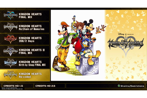PS4 Kingdom Hearts 1.5 + 2.5 HD ReMix Menus - YouTube