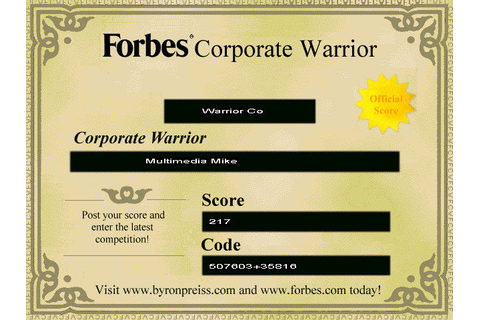 Forbes Corporate Warrior Screenshots for Windows - MobyGames