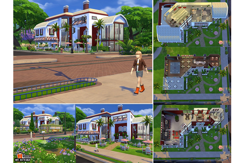 Red & White Restaurant Bar | Sims 4 Houses