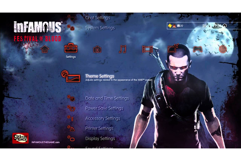 inFamous: Festival of Blood - PS3 Dynamic Theme - YouTube