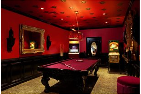 Traditional Game Room with Pendant light, Carpet, can lights, Built-in ...