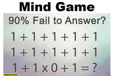 Mind game: what's the result 90% fail to answer one plus ...