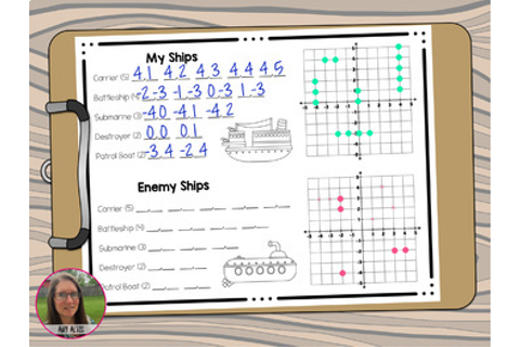 Coordinate Graphing Plotting Points Battleship Math Game ...