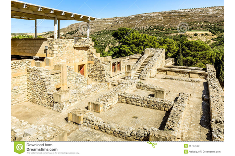 Panorama Of Labyrinth In Knossos Palace Stock Photo ...