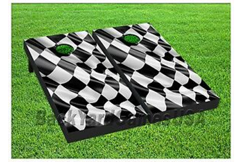 Checkered Flag Cornhole Boards BEANBAG TOSS GAME w Bags ...