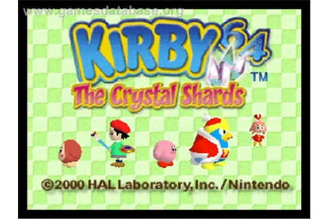 Title screen of Kirby 64: The Crystal Shards on the Nintendo N64.