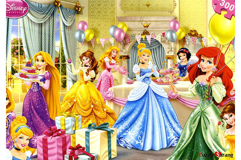 Disney Princess Party Jigsaw Puzzle with Cinderella, Rapunzel, Ariel ...
