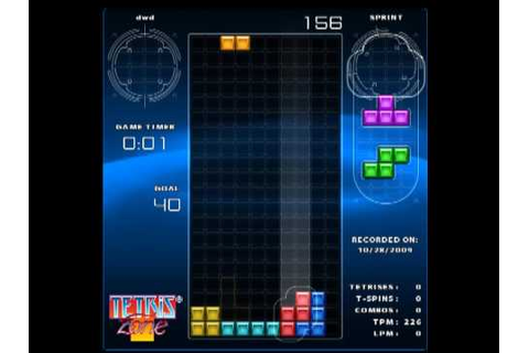 Tetris World Record - Tetris Zone Sprint Mode (40 Lines ...