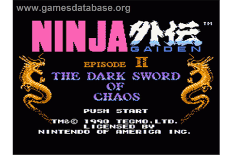 Ninja Gaiden II: The Dark Sword of Chaos - Nintendo NES - Games ...