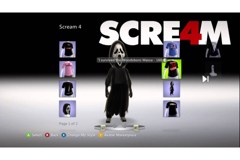 SCRE4M (Scream 4) XBox Live Marketplace Avatar Items - YouTube