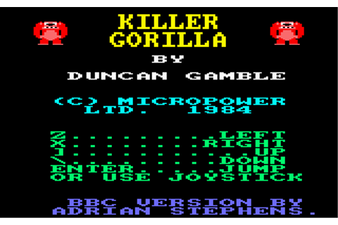 Download Killer Gorilla (Amstrad CPC) - My Abandonware