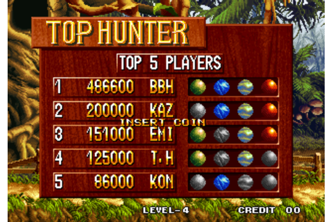 Top Hunter: Roddy and Cathy - Arcade/Coin-Op - Score Board