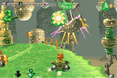 In game image of Antz Extreme Racing on the Nintendo Game Boy Advance.