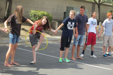 * Hula Hoop Game: Even up teams. One hula hoop per team ...