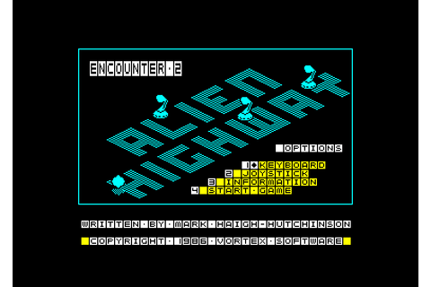 Alien Highway - Encounter 2 by Vortex on Amstrad CPC (1986)