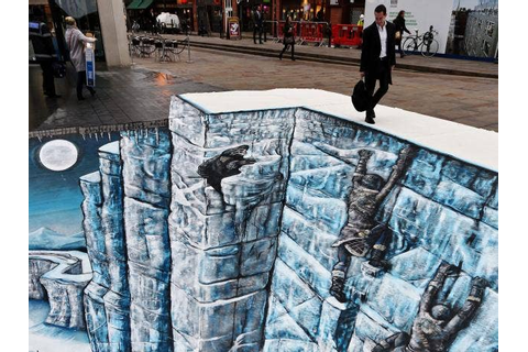 Game of Thrones 'Wall' recreated as 3D street art ...