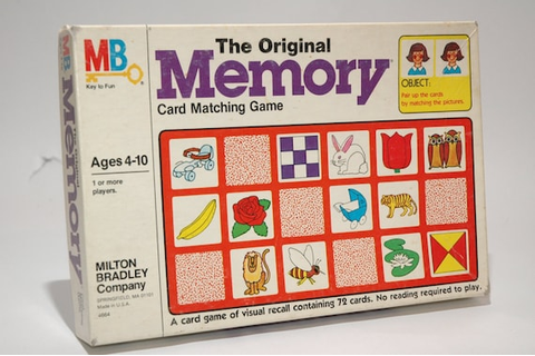 The Original Memory Game from Milton Bradley 1980 read