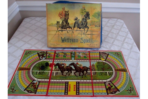 VINTAGE FRENCH-GERMAN-STEEPLE CHASE HORSE RACE GAME ...